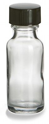 1/2 oz (15 ml) Clear Glass Bottles with Polyseal Cone-Lined Caps (Lot of 12)