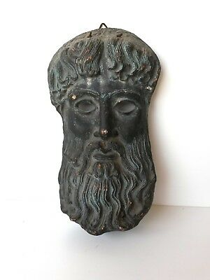 Hercules god face death mask Greek made in Greece Terracotta clay 1950's antique