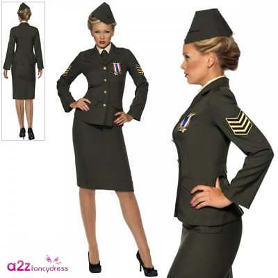 Womens Wartime Officer Costume 1940's WW2 Army Uniform Fancy Dress UK 8-26