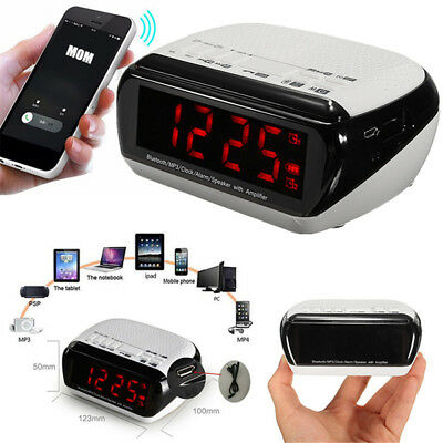 Bluetooth LED Wireless Speaker Mic LCD Alarm Clock TF FM Radio Player Music MP3