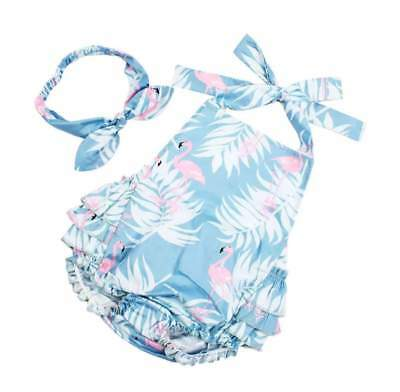 Baby Girl Retro Flamingo Swimsuit