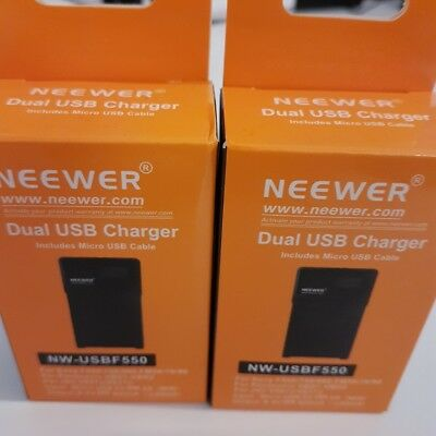 Micro USB Battery Charger + 2 Pack 2600mAh NP F550  Replacement Batteries