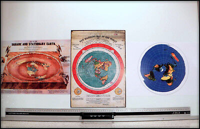 3 Flat Earth Prints: Gleason's Map + Square & Stationary Earth + Usgs World Map