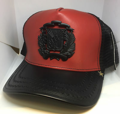 NWT Gold Star Red and Black Leather DR Flag Trucker Hat