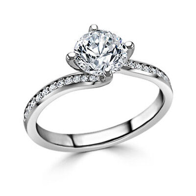 1.20 Ct Round Cut Solitaire Diamond Engagement Ring 14K Solid White Gold Rings