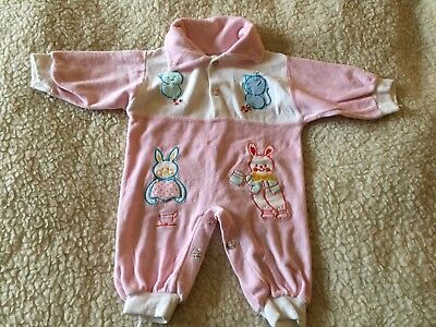 Baby Vintage Babygrow, Size Aprox 3-6 Month, Pink