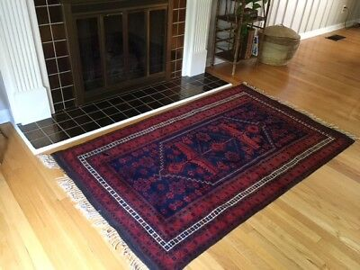 Vintage Oriental Persian Hand Knotted Hand Woven Wool Rug In Red