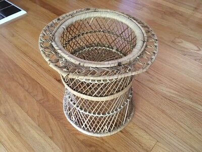 Vintage Bohemian Wicker plant stand/plants/garden/porch