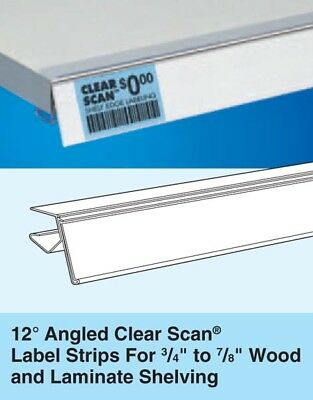 """24Qty 12º Angle Clear Scan Label Strip Sign Holder ANT30-1219 48""""L Wood Shelving"""
