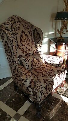 Upholstered Occasional Chair Wood Frame Ivory and Maroon