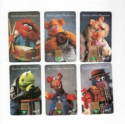 (R-0023)   Lot of 6 UK BT The Muppets Gift  Phone Cards  No Value