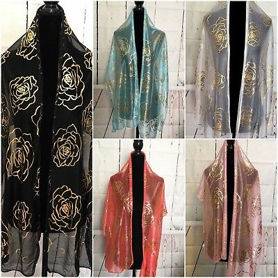 Party Wedding Evening Sheer Light Scarf With Gold Rose Foil Shawl Wrap Hijab