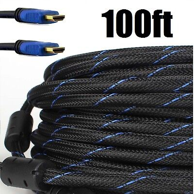 CableVantage PREMIUM HDMI Cord CABLE 100FT For TV HDTV 3D DVD PS4 Xbox Blue US