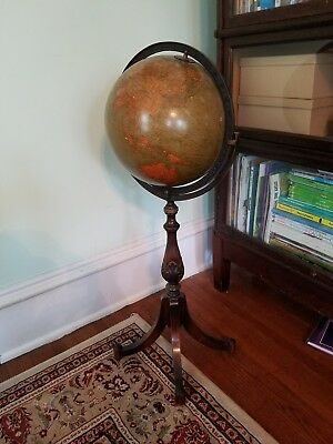 Gorgeous 1929 W. & A.K. Johnston 12 inch terrestrial globe with floor stand