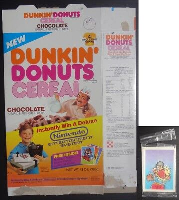 1988 New Dunkin Donuts Cereal Box Chocolate offer Nintendo Magic Card included