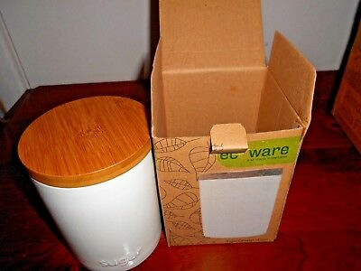 ECOWARE Sugar Cannister Fine Porcelain with bamboo Lid 14.5cm White NEW