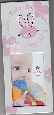 "Baby Picture Frame with Bunny Design by Fashion Craft, Girl, 2.5"" x 5.75"", New"