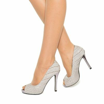 Leather Comfort Padded Grey / Silver Peep Toe High Heel Pumps Sizes 6-10