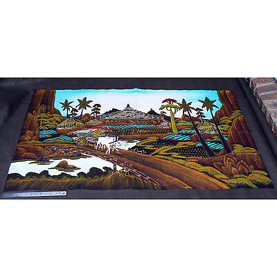147 cm x 92 cm Large Indonesian Batik Landscape Original Signed Cloth Painting