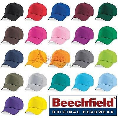 Beechfield ORIGINAL 5 PANEL BASEBALL CAP Men Women Plain 100% Cotton Twill B10