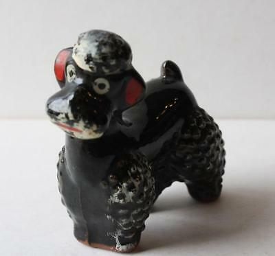 Poodle Dog-Hand Painted-Red Ears-Very Cute Vintage Retro Black Ceramic-Porcelain