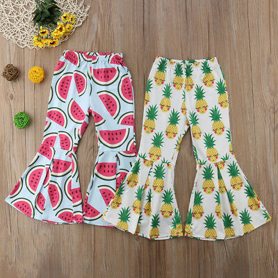 Toddler Kids Baby Girls Long Pants Friut Bottoms Flared Trousers Clothes Summer