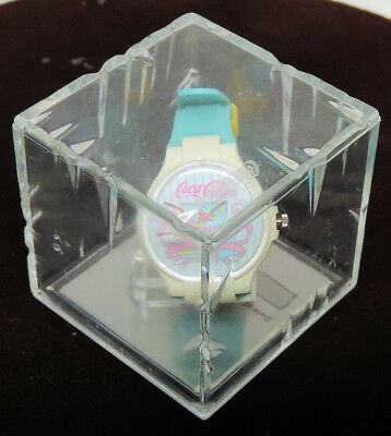 "1988 Coca Cola Swiss Quartz ""Ice Cube"" Watch, Mint & Running with Box!"