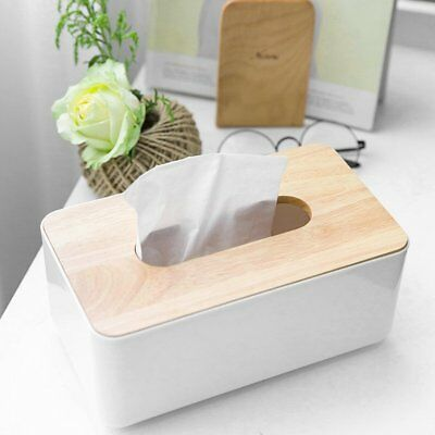 Plastic Home Room Car Hotel Tissue Box Wooden Cover Paper Napkin Holder Case AZ