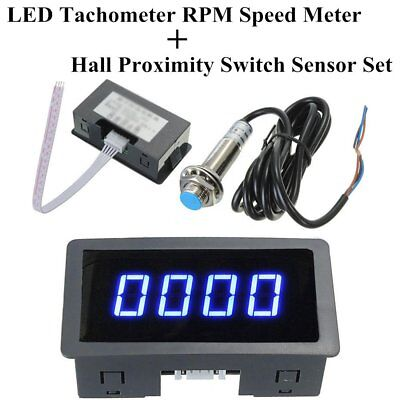 4 Digital LED Tachometer RPM Speed Meter + NPN Hall Proximity Switch Sensor AZ