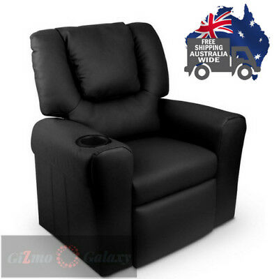 4Kid's PU Leather Reclining Arm Chair - Black