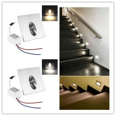 3W ! LED Recessed Wall Step Light Stair Lamp Warm/White Porch Pathway