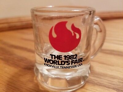vintage 1982 worlds fair knoxville tennessee small mug shot glass