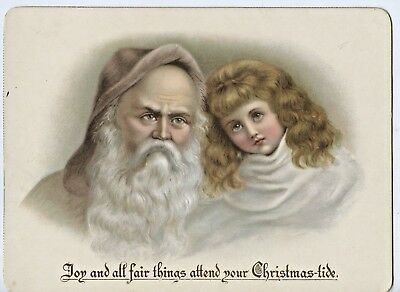 C1890 Chromo Lithograph Purple Robed Santa Claus With Young Girl Xmas Card  K91