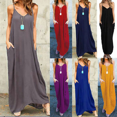 Womens Holiday Sleeveless Ladies Maxi Long Summer Solid Beach Dress with Pocket