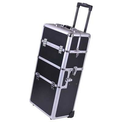 2in1 Aluminum Rolling Makeup Case Train Cosmetic Artist Hair Style Lock Box 38""