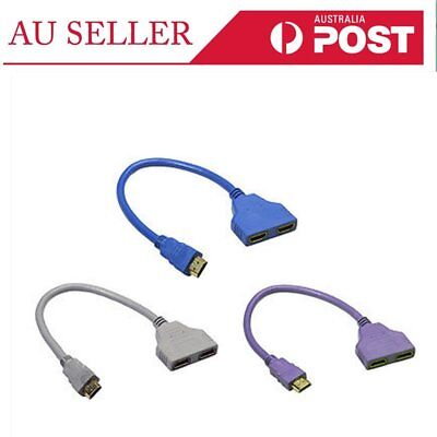 HDMI 1 to 2 Split Double Signal Adapter Convert Cable for Video TV HDTV AZ