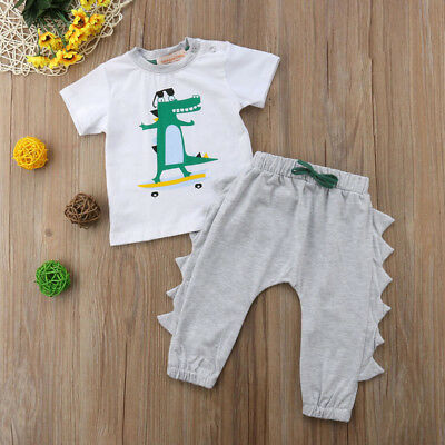 2pcs Toddler Kids Baby Boy T-shirt Tops+Long Pants Trousers Outfits Clothing USA