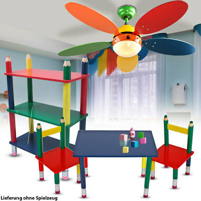 Kinder Möbel Set Decken Ventilator einstellbar Tisch Gruppe Massiv Holz Regal
