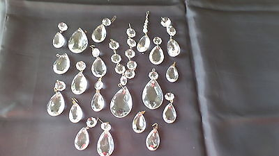 OLD CHANDELIER TEAR DROP CRYSTALS 3 Sizes A TOTAL OF 41 pieces - #10