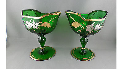 Pair Of Green Glass With Gold Pattern Glasses With Pouring Lip