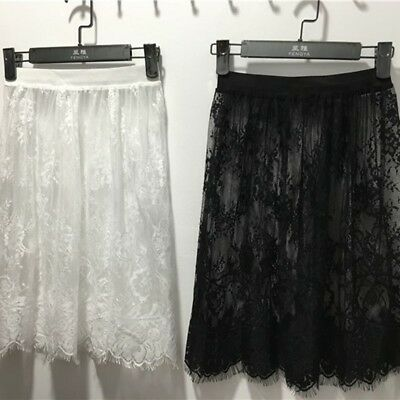 Trendy Women Spring Summer Lace Skirt Casual Tulle Hollow Out Short Pencil Skirt