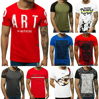 OZONEE O/1180 Herren T-Shirt Kurzarm Shirt Aufdruck U-Neck Fitness Slim Fit MIX