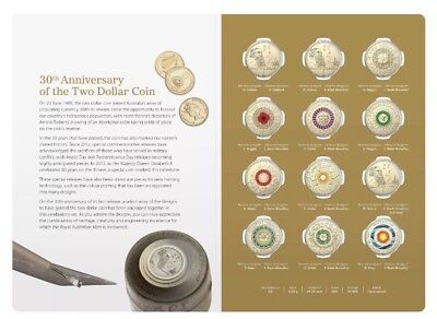 2018 $2 12 Coin Coloured Set -30th Anniversary of the $2 Coin-Free Post Too!!!