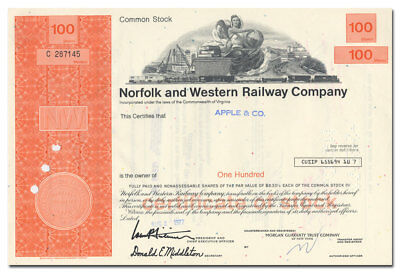 Norfolk and Western Railway Company Stock Certificate