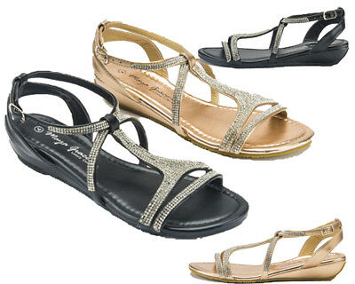Ladies Women Low Wedge Diamante Summer Fashion Party Sandals Holiday Beach Shoes