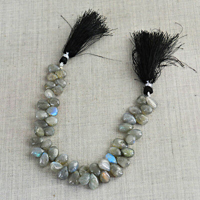 140.00 Cts / 8 Inches Earth Mined Drilled Blue Flash Labradorite Beads Strand