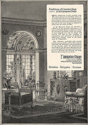 Hampton Shops, New York City - Classic Furniture - 1920 Vintage Ad - Full Page