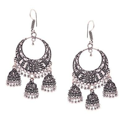 bc43718e1 Oxidized Silver Plated handmade women Hook Earrings long jhumka jhumki 3 in  1