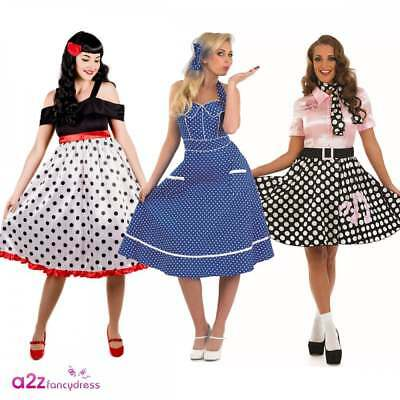 c5ca48876177 Ladies 50's Rock 'N' Roll Costume Adults 1950s Poodle Womens Fancy Dress  Outfit