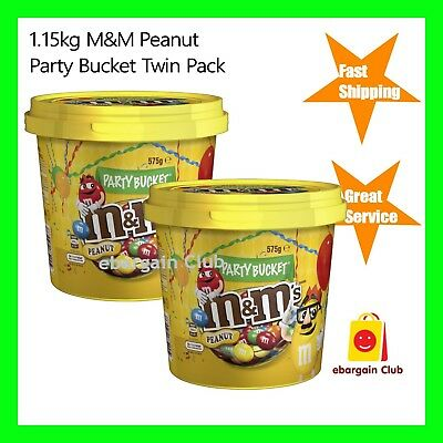 1.15kg M&M's Peanut Chocolate Party Bucket Value Pack (2x640g Bucket) eBC